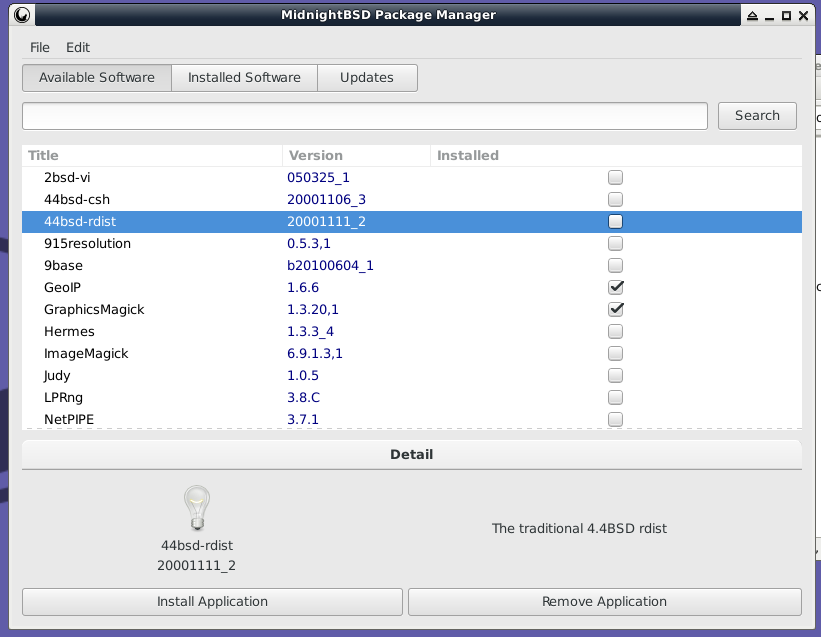 mport Package Manager Available Software