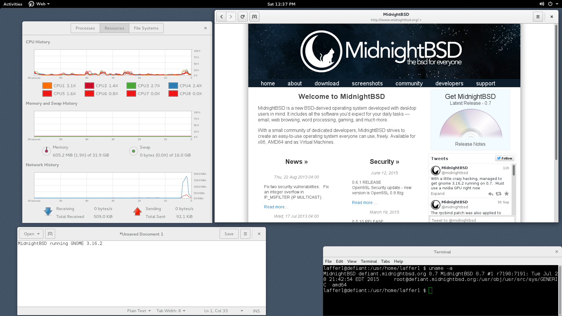 MidnightBSD 0.7 Screenshot